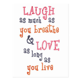 Vive la cita simple del amor de la risa postal