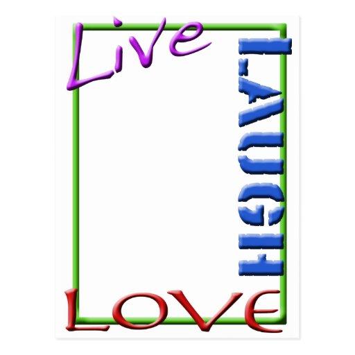 Vive la vertical del marco del amor de la risa tarjeta postal