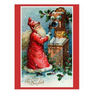"""""""Vive navidad del francés del vintage del St. Nico Postal"""