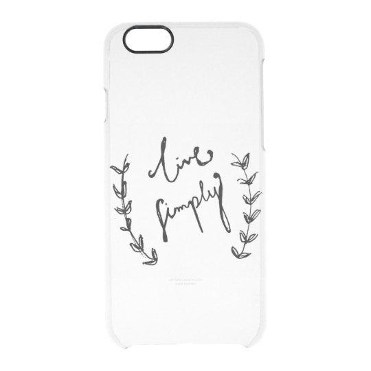 """""""vive simplemente"""" la caja del teléfono del iphone funda transparente para iPhone 6/6s"""