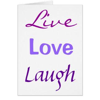 Vivo, amor, risa tarjeta pequeña