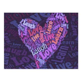 Vivo, amor, risa y aprenda tarjeta postal