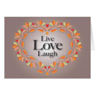 Vivo, amor, tarjeta de nota de la risa