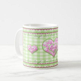 Vivo, amor, taza de la risa - corazones rosados