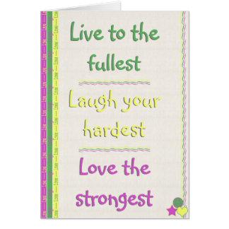 Vivo, risa, amor tarjeta de felicitación