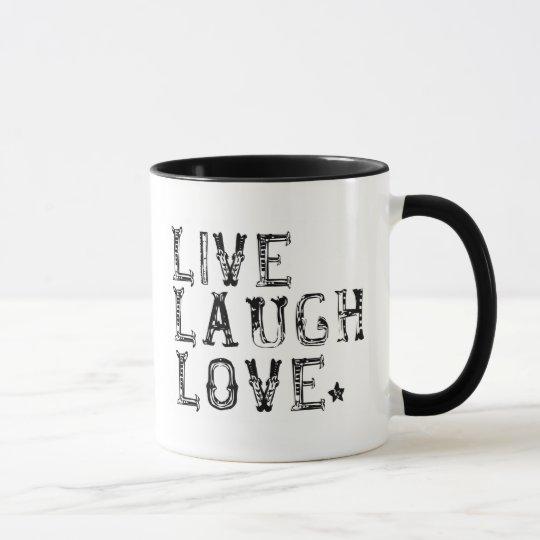 vivo, risa, amor taza