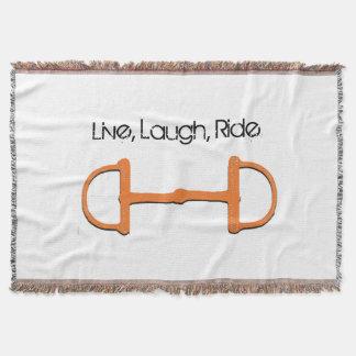 Vivo, risa, paseo, tiro manta tejida