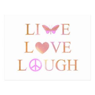 Vivo, risa, postal del amor