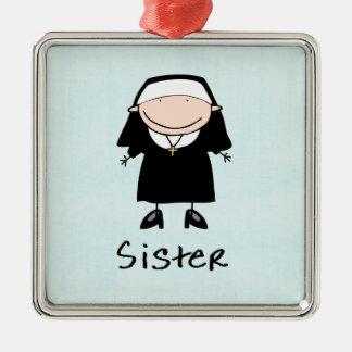 Vocación religiosa de la monja del empleo adorno cuadrado plateado