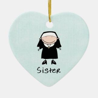 Vocación religiosa de la monja del empleo adorno navideño de cerámica en forma de corazón