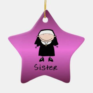Vocación religiosa de la monja del empleo adorno navideño de cerámica en forma de estrella
