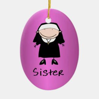 Vocación religiosa de la monja del empleo adorno navideño ovalado de cerámica