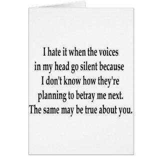 Voces silenciosas tarjeta de felicitación