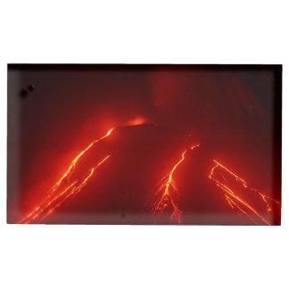 Volcán de la erupción de la noche del paisaje soportes para tarjetas de mesa