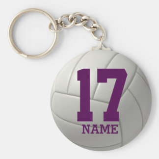 Voleibol personalizado (nombre y número púrpuras) llavero redondo tipo chapa