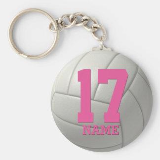 Voleibol personalizado (nombre y número rosados) llavero redondo tipo chapa