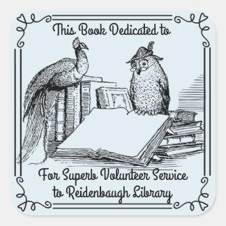 Voluntarios de la biblioteca del pegatina del