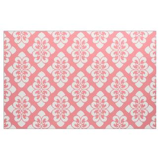 Voluta blanca del damasco en el rosa coralino telas
