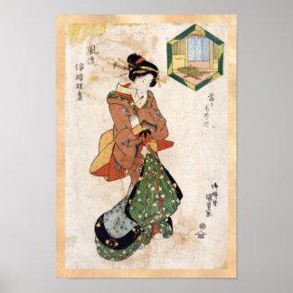 Voluta japonesa fresca de la señora del geisha del póster