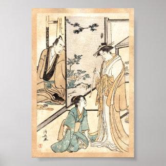Voluta japonesa fresca del geisha del ukiyo-e del póster