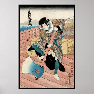 Voluta japonesa fresca del guerrero del ukiyo-e póster