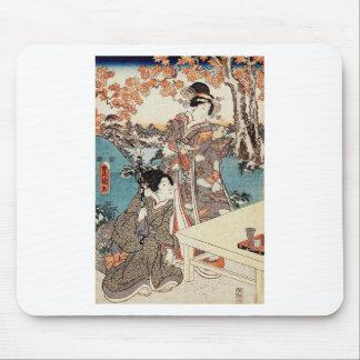 Voluta vieja del vintage del geisha japonés del alfombrilla de ratón
