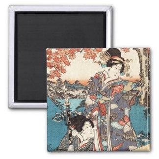 Voluta vieja del vintage del geisha japonés fresco imanes