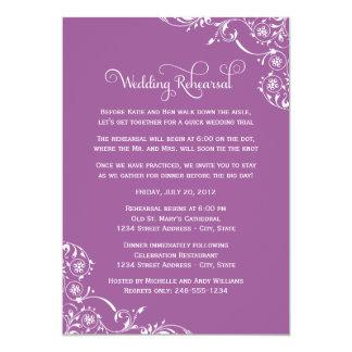 Voluta violeta del ensayo el | del boda invitación 12,7 x 17,8 cm