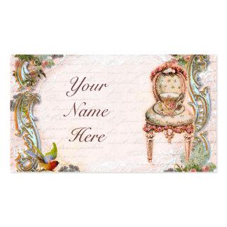 Volutas elegantes y rosas y taza de té rosados tarjetas de visita
