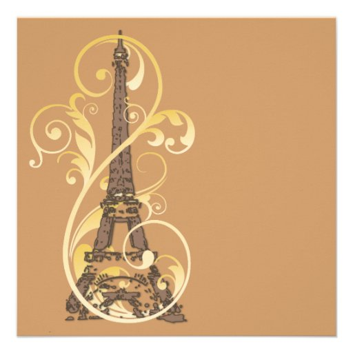 Volutas y torre Eiffel de oro Anuncio Personalizado