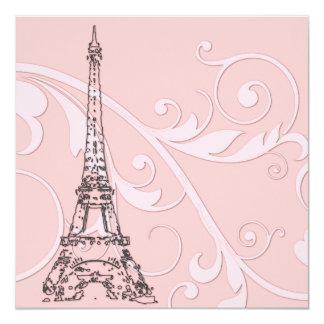 Volutas y torre Eiffel Invitación 13,3 Cm X 13,3cm