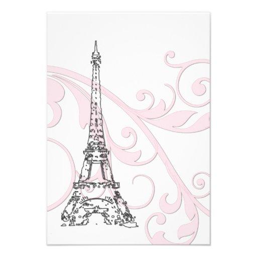 Volutas y torre Eiffel rosadas Invitación Personalizada