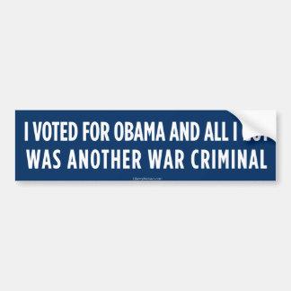 Votado por Obama consiguió a un criminal de guerra Pegatina Para Coche