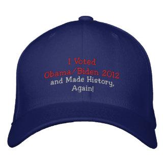 ¡Voté a Obama, Biden 2012 e hice historia, otra ve Gorra Bordada