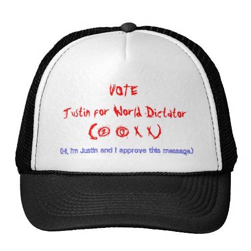 VOTEJustin para el dictador del mundo (2 0 X X) Gorros Bordados
