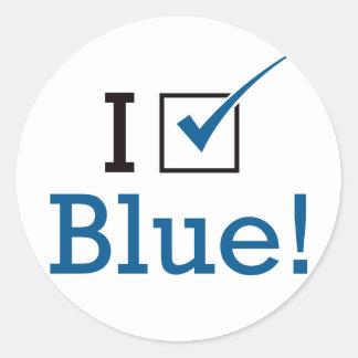 Voto el azul etiqueta