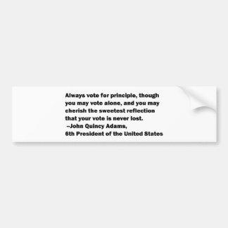 Voto en cita del principio de John Quincy Adams Pegatina Para Coche