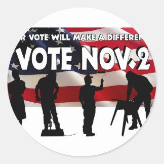 Voto en noviembre pegatina redonda