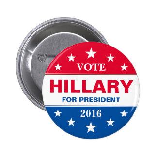 Voto Hillary Clinton para el presidente 2016 Chapa Redonda De 5 Cm