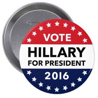 Voto Hillary Clinton para el presidente Pin 2016 Chapa Redonda De 10 Cm