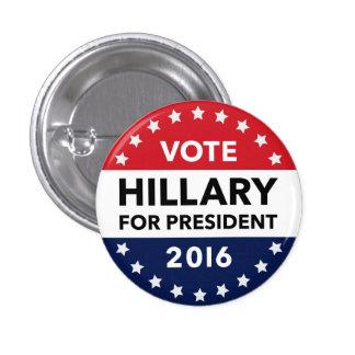 Voto Hillary Clinton para el presidente Pin 2016 Chapa Redonda De 2,5 Cm