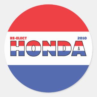 Voto Honda 2010 elecciones blanco y azul rojos Pegatina Redonda