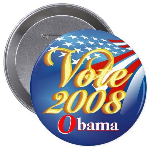 Voto Obama - botón político Pin