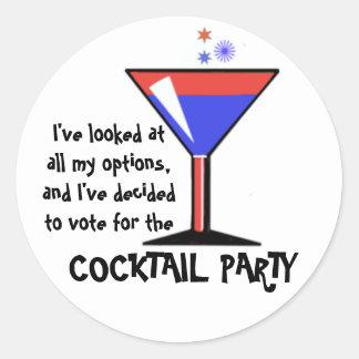 ¡Voto para el cóctel! Pegatina Redonda