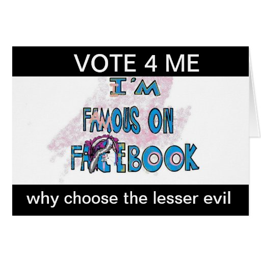 Voto para mí Famouse en la tarjeta de Politcal del