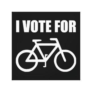 Voto por bicicleta lienzo