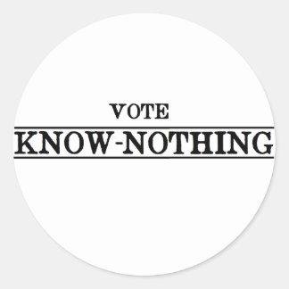 Voto Saber-Nada Pegatina Redonda
