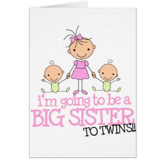 Voy a ser una hermana grande a los GEMELOS Tarjetón