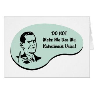 Voz del nutricionista tarjeta de felicitación