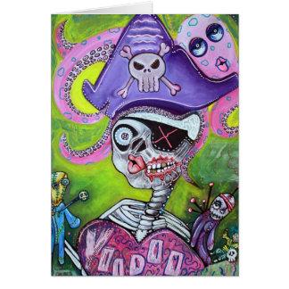 Vudú del pirata tarjeta de felicitación